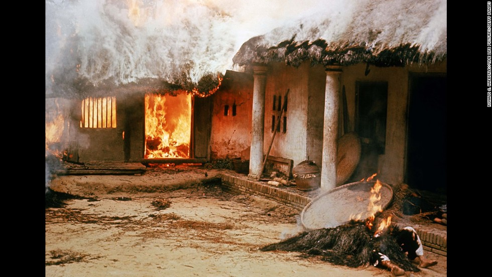 Houses in My Lai, South Vietnam, burn during the My Lai massacre on March 16, 1968. American troops came to the remote hamlet and killed hundreds of unarmed civilians. The incident, one of the darkest moments of the Vietnam War, further increased opposition to U.S. involvement in the war.