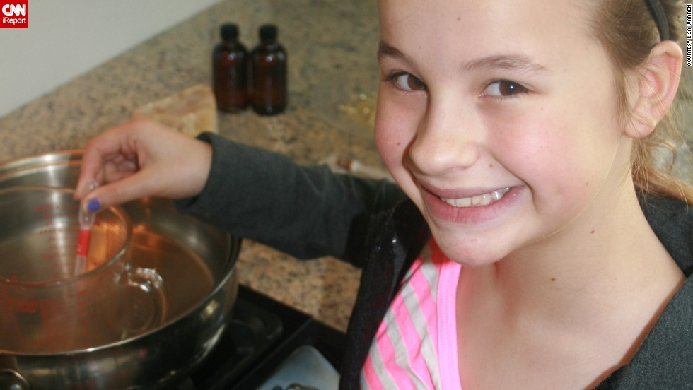 Chloe, 12, is the recipe-keeper in the company and handles most of the manufacturing.