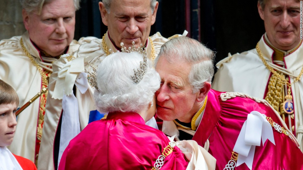 Britain's Queen Elizabeth II and her son Prince Charles attend the Order of the Bath service at London's Westminster Abbey on Friday, May 9. The British order of chivalry was founded in 1725 by King George I.
