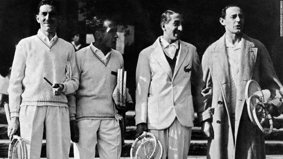 "Lacoste (second from right), along with compatriots Jacques Brugnon (far left), Henri Cochet (second from left) and Jean Borotra, were known as the ""Four Musketeers"" and won the Davis Cup six times for France between 1927 and 1932."