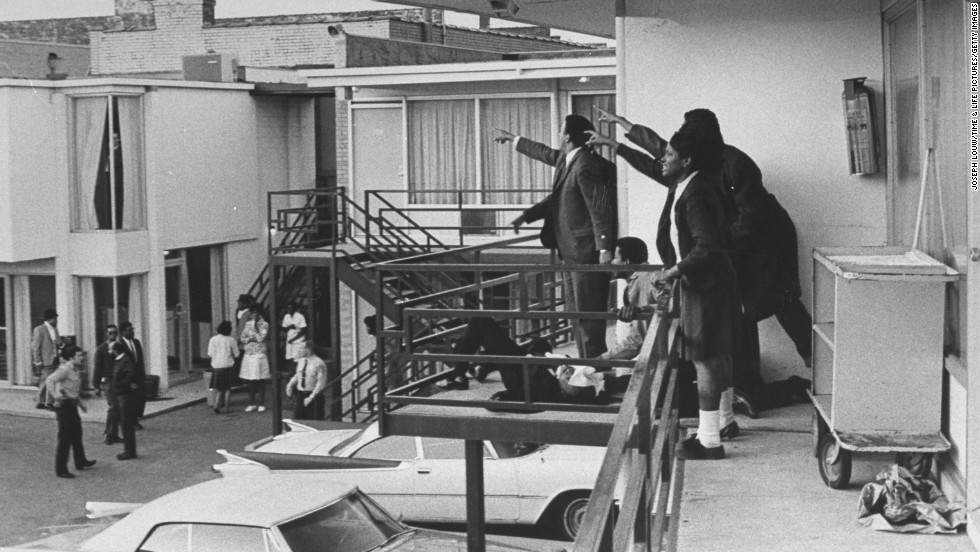 This photo was taken on April 4, 1968, moments after the Rev. Martin Luther King Jr. was shot and killed by a sniper as he stood on a balcony of the Lorraine Motel in Memphis, Tennessee. King was in Memphis to support striking sanitation workers.