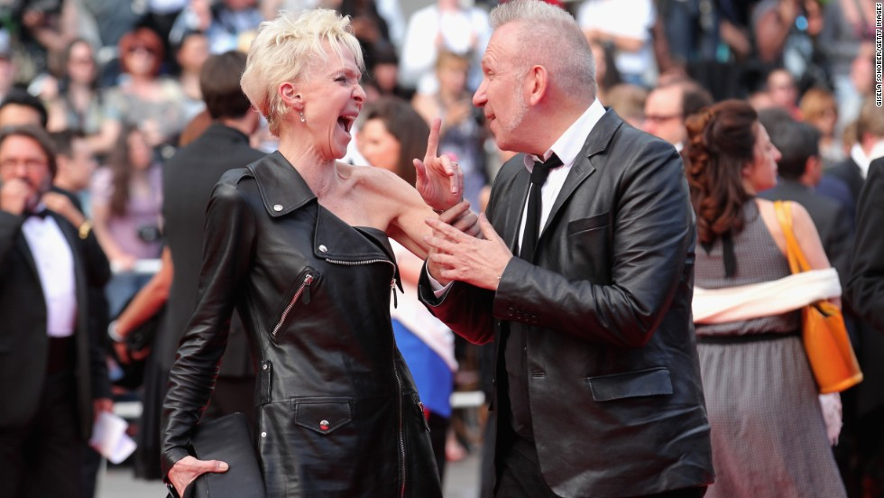 Actress Tonie Marshall and fashion designer Jean Paul Gaultier on May 17