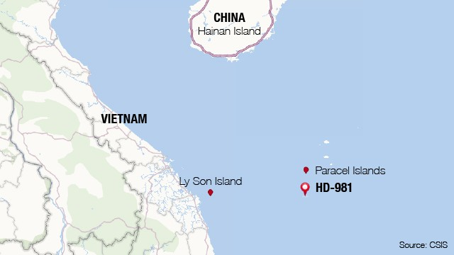Location of China's drilling rig