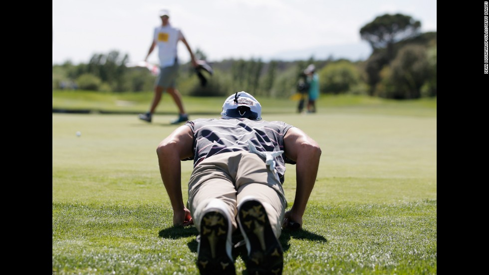 Maximilian Kieffer lines up a putt at the Spanish Open on Thursday, May 15. The German finished the tournament two strokes behind winner Miguel Angel Jimenez.