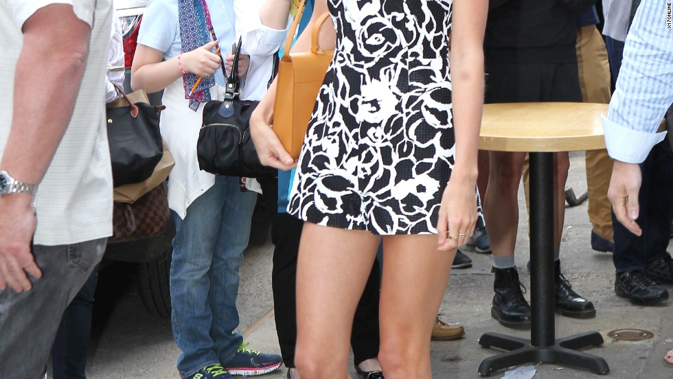 A tan Taylor Swift gets an audience in New York on May 17.