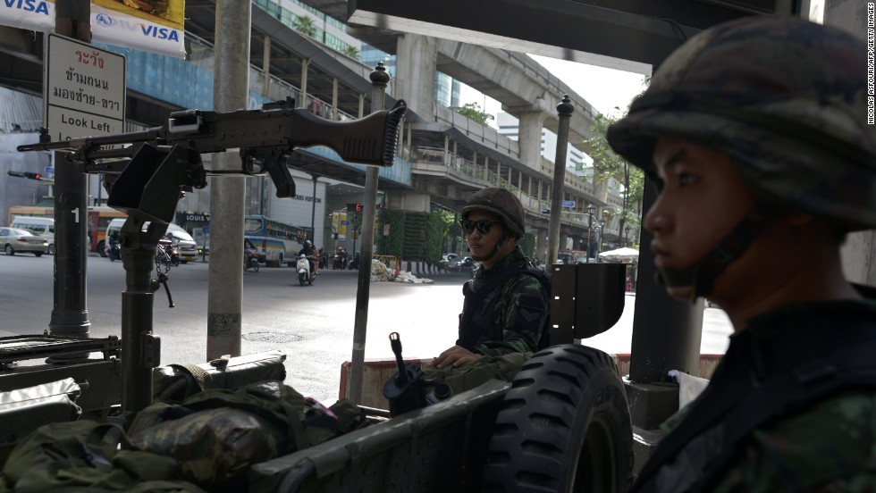 Soldiers secure the Ratchaprasong intersection in Bangkok on May 20.