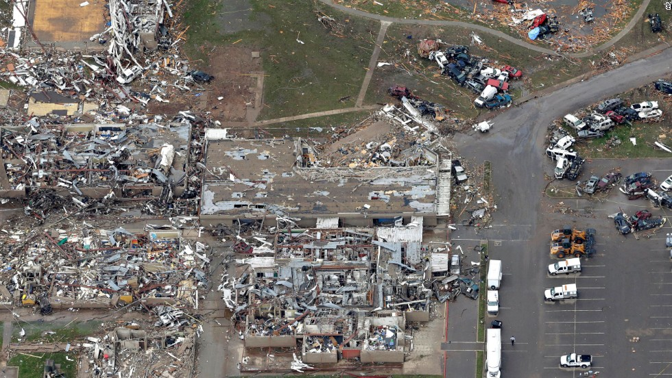 <strong>Then: </strong>An aerial view of damage to the Plaza Towers Elementary School on May 21, 2013. Seven students died when a tornado hit the school a day earlier.