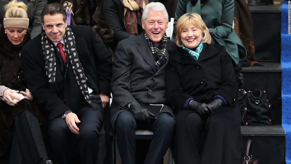 "Former President Bill Clinton, center right, was notably embroiled in an office fling with former <a href=""http://www.cnn.com/2014/05/06/politics/lewinsky-clinton-affair/"">White House intern Monica Lewinsky</a>, which became public in 1998. He and wife Hillary weathered the storm and other allegations of infidelity."
