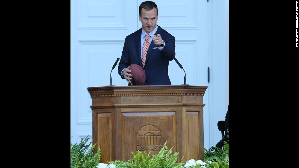 The Denver Broncos quarterback spoke to graduates of the University of Virginia on May 17, even tossing a football to a few students.<br />