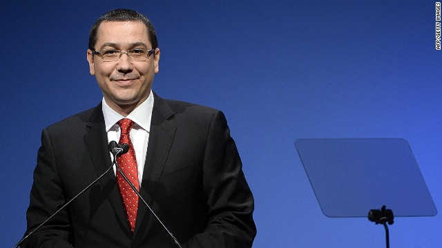 Romanian Prime minister Victor Ponta arrives to deliver a speech to delegates during a meeting at the PES (Party of European Socialists) electoral congress on March 1, 2014 in Rome. AFP PHOTO / ANDREAS SOLAROANDREAS SOLARO/AFP/Getty Images