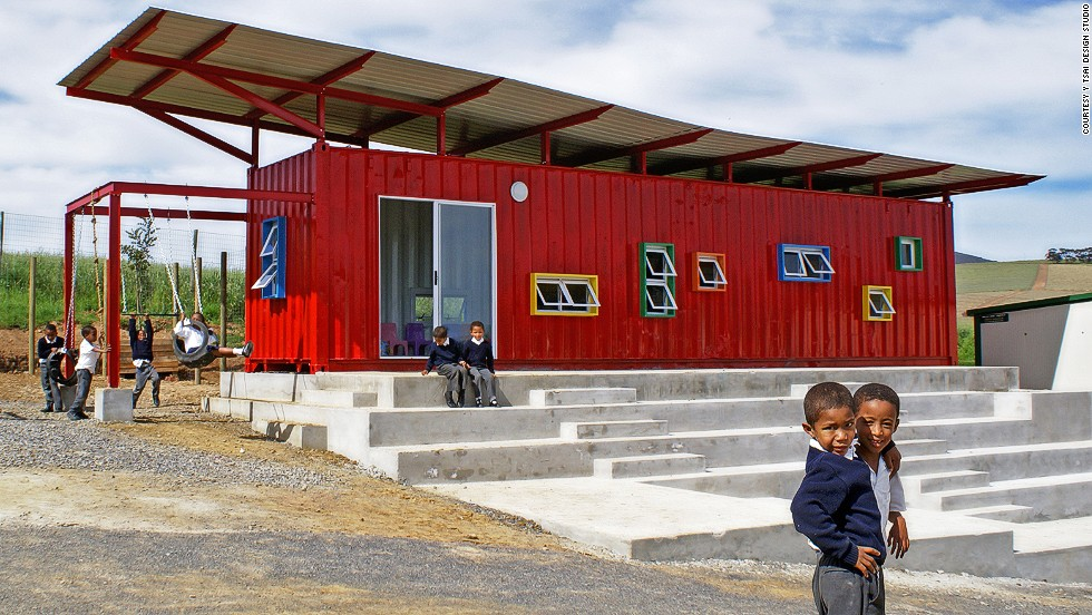 In 2012, South African architect Y Tsai won a Loerie Award for converting an old shipping container into a classroom in rural South Africa. The colorful classroom featured an outdoor jungle gym, windows to allow for cross ventilation, a steel roof that can collect rain water, and an outdoor amphitheater for school events.
