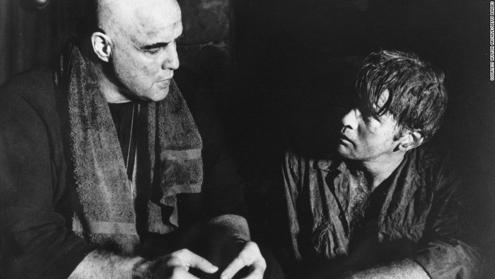 "Marlon Brando (left) as Colonel Kurtz and Martin Sheen as Captain Willard in Francis Ford Coppola's Vietnam film '""Apocalypse Now'."""