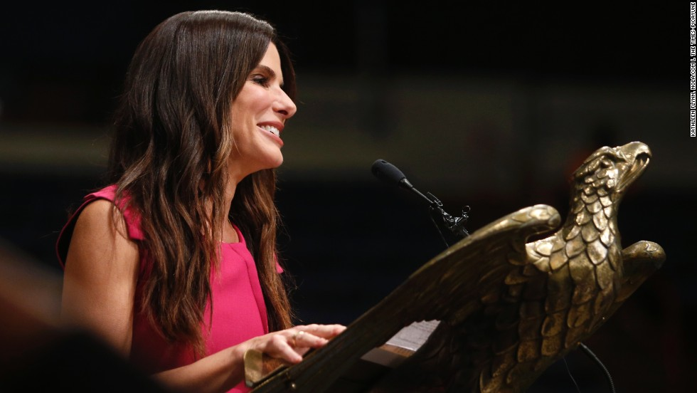 "Sandra Bullock was the surprise commencement speaker at Warren Easton Charter High School's graduation in New Orleans on May 19. She has supported the school since shortly after Hurricane Katrina in 2005. Her advice? ""Stop worrying so much. Stop being scared of the unknown, because anything I worried about didn't happen,"" Bullock told the graduates. Also: ""Do not pick your nose in public."""
