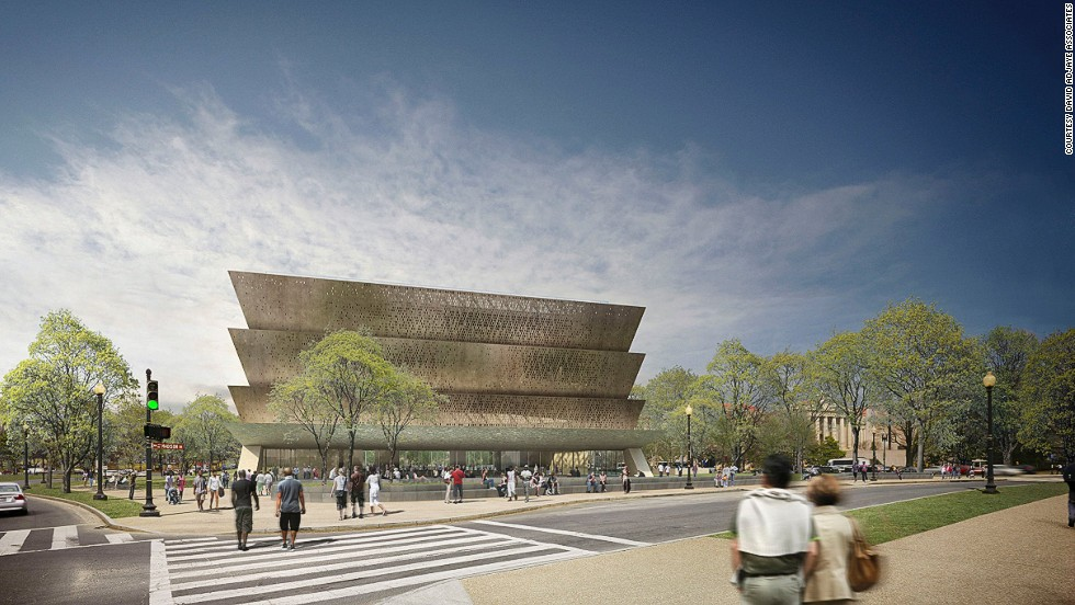 David Adjaye was tapped to design the Smithsonian National Museum of African American History and Culture in Washington, DC. The structure, which is slated for completion 2015, nods to an African aesthetic. The exterior will be made up of aluminum panels coated with bronze, and will employ ornamental techniques once used by former slaves, and developed in African cultures.