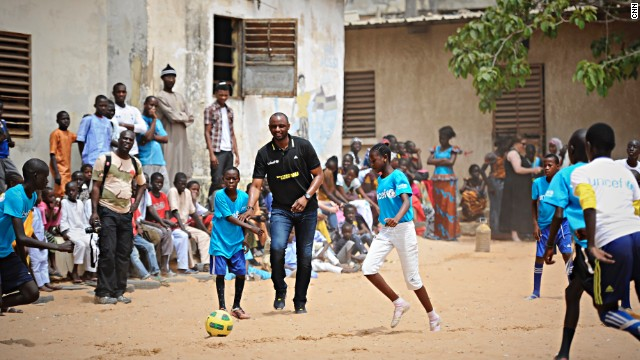 Vieira is pictured at the Diambars academy in Senegal.