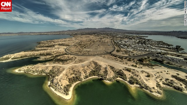 A drone-eye view of Lake Havasu City,  Arizona.