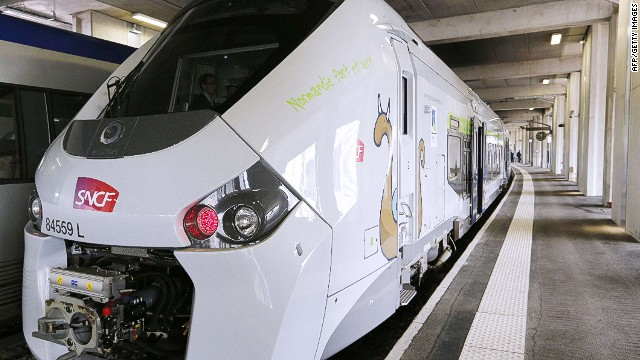 (FILES) -- A file picture taken on April 29, 2014 shows the new SNCF Regiolis Regional Express Train (TER) during its presentation at the Vaugirard railway station in Paris. The arrival in France of new and larger regional trains, the Regiolis TER constructed by Alstom and the Regio 2N constructed by Bombardier, will require construction work to to reconfigure station platforms, at a cost of over 50 million euros, as the trains are too wide for many regional platforms. AFP PHOTO / FRANCOIS GUILLOTFRANCOIS GUILLOT/AFP/Getty Images