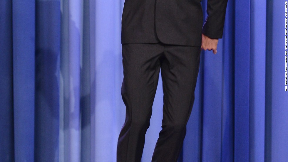 "Hugh Jackman jumps, possibly for joy, while visitng ""The Tonight Show starring Jimmy Fallon"" on May 21."