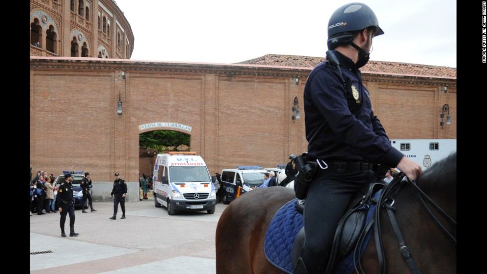 An ambulance leaves Las Ventas bullring.
