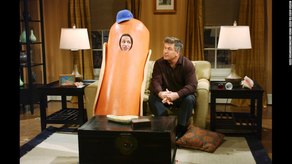 "Andy Samberg, left, and Alec Baldwin perform in a ""Saturday Night Live"" skit called Hot Dog Family in 2005."