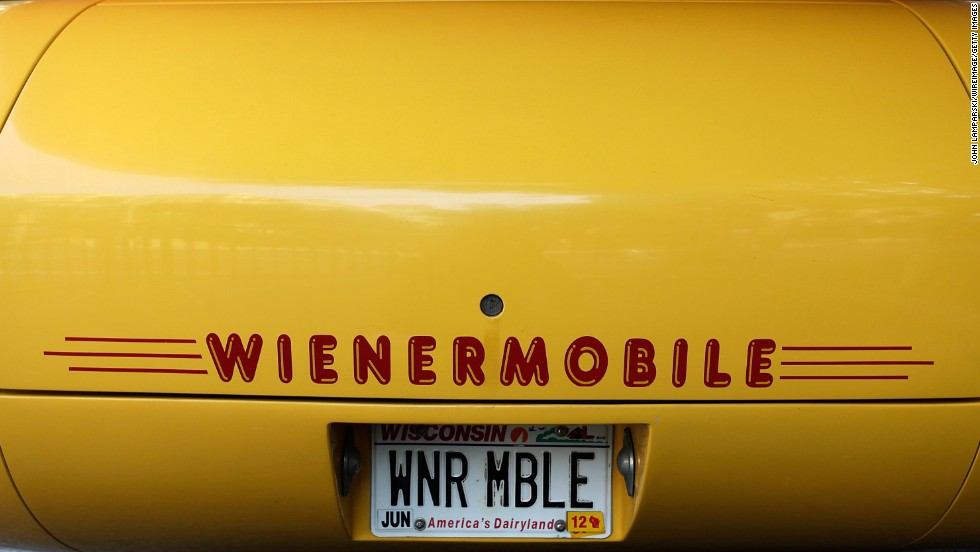 The Oscar Mayer Wienermoblie is seen in New York City during a celebration of its 75th birthday in 2011.