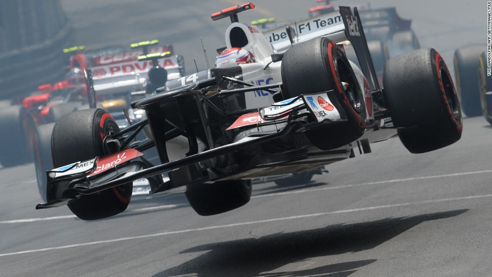 Prost says some of the corners are so tight, it feels like you are driving a plane, not an F1 car. Here Kamui Kobayashi's Sauber takes off during the 2012 race.