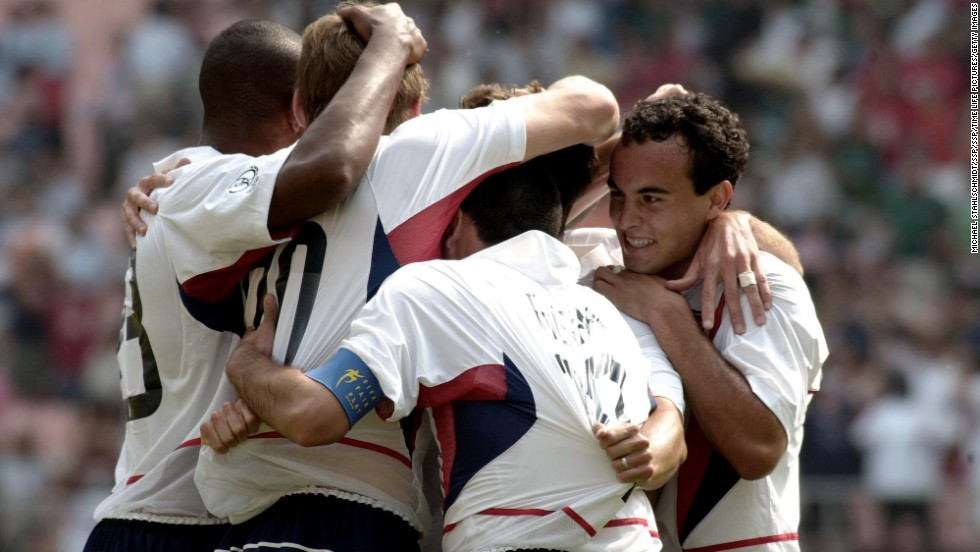 It's one thing to beat Mexico in a friendly or World Cup qualifier, but in the World Cup's Round of 16? Elation. From left to right, Tony Sanneh, Brian McBride, Claudio Reyna and Landon Donovan celebrate McBride's first goal in the match. Donovan would later frost the cake, making it 2-0 and sending the United States to the 2002 quarterfinals against Germany, which they lost controversially.