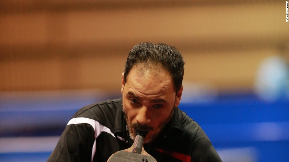"""It was quite difficult playing table tennis after the accident,"" says Hamadto. ""I had to practice hard for three consecutive years on a daily basis.  At the beginning, people were amazed and surprised seeing me playing. They encouraged and supported me a lot and they were very proud of my willing, perseverance and determination."""