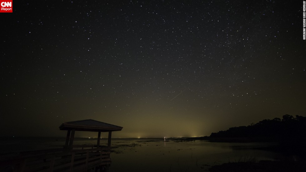 "<a href=""http://ireport.cnn.com/docs/DOC-1136466"">Tracey Choulat</a> stood outside Pierson, Florida, watching for the Camelopardalids meteor shower. After waiting for three hours, he jokingly renamed it a ""meteor sprinkle."""