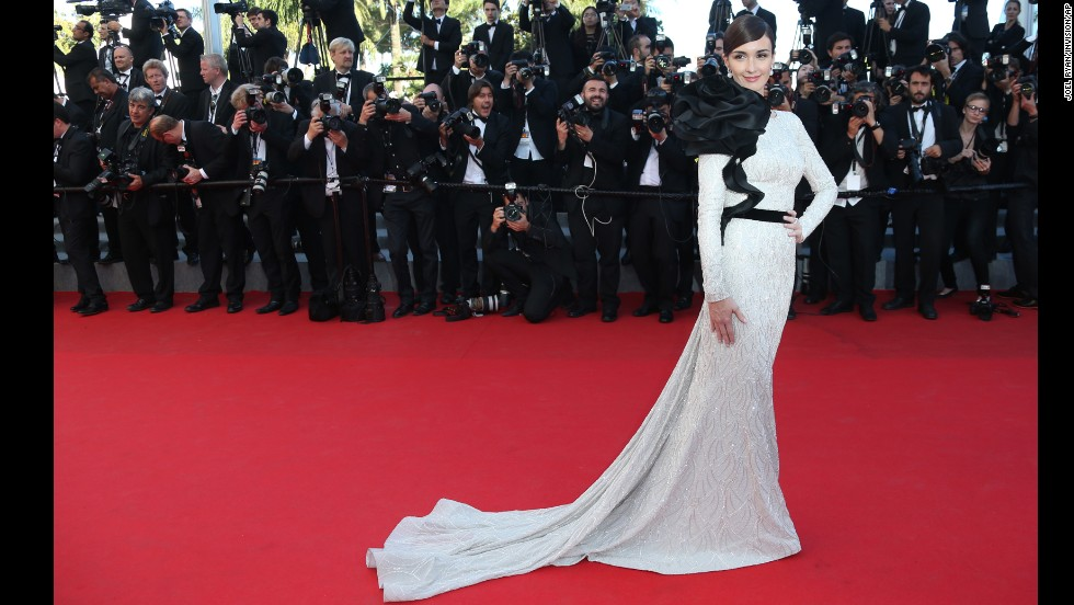 Actress Paz Vega poses for photographers as she arrives for the awards ceremony at the 67th Cannes Film Festival, southern France, Saturday, May 24.