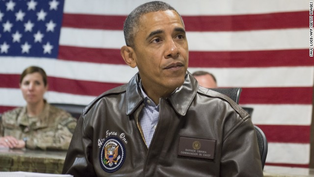 Obama attends a military briefing at Bagram Air Field, north of Kabul on May 25.