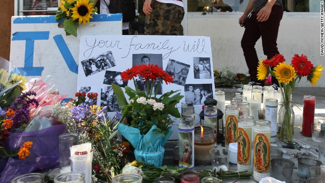 A makeshift memorial has been set up in front of the IV Deli, one of the crime scenes in  Isla Vista, California on Sunday, May 25.