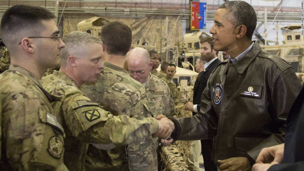 Obama greets U.S. troops during his visit to Bagram Air Field.