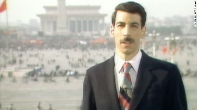 Mike Chinoy reporting live from Tiananmen Square.