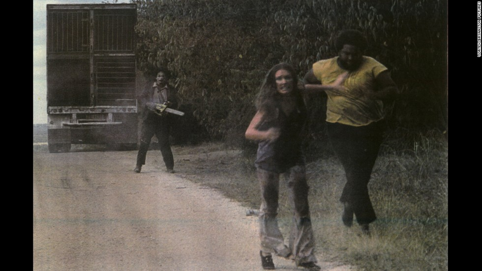 """The Texas Chain Saw Massacre"" was an early example of the slasher film -- considered so violent at the time that it was dropped from many theaters. Marilyn Burns, Ed Guinn and Gunnar Hansen starred in the work, directed by Tobe Hooper."