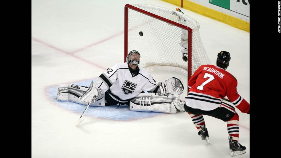 Los Angeles goalie Jonathan Quick makes a save against Chicago defenseman Brent Seabrook during Game 2 of the NHL's Western Conference finals on Wednesday, May 21. The Kings won the game 6-2 to tie the best-of-seven series at one game apiece.