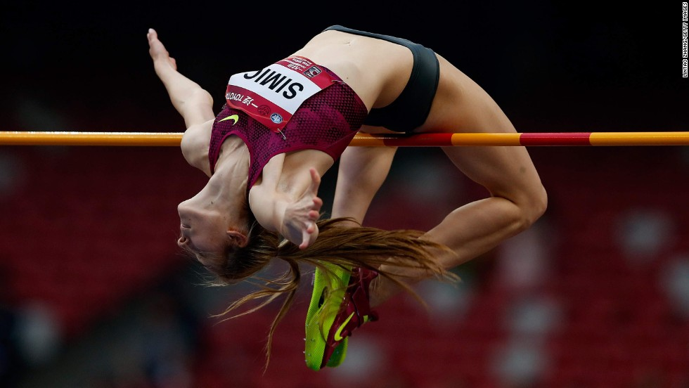 Ana Simic of Croatia stretches over the high-jump bar during the IAAF World Challenge event in Beijing on Wednesday, May 21. Simic won with a jump of 1.98 meters (nearly 6.5 feet).