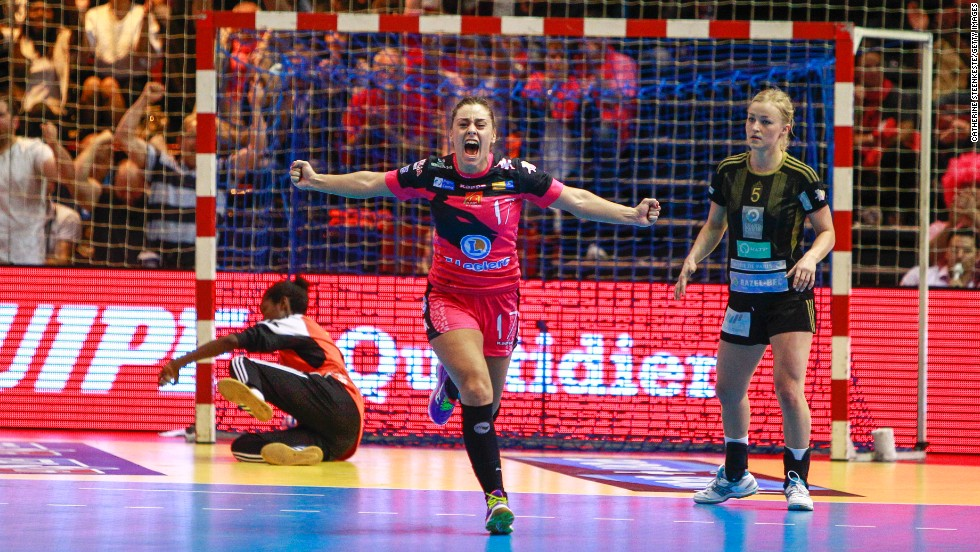 Handball player Marta Lopez Herrero celebrates after a play during the French Cup final on Saturday, May 24, in Paris. Her team, Fleury Loiret, defeated Issy Paris 20-18.