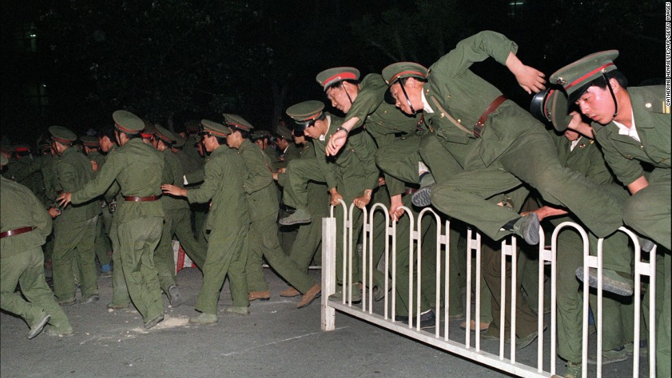Countdown to the crackdown: Unarmed troops first approached Tiananmen Square on June 2.