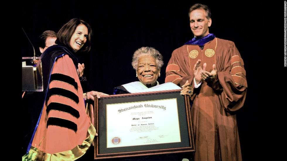 Angelou receives an honorary doctorate from Shenandoah University in Winchester, Virginia, in 2008.