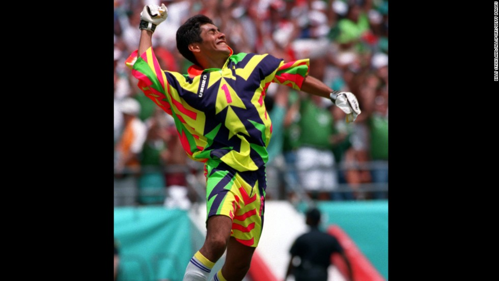 "Mexico goalkeeper Jorge Campos played with distinction for ""El Tri"" at two World Cups, leaving his sartorial mark on both USA '94 and France '98. The Aztec-inspired number sported by Campos 16 years ago was impressive (more on that shortly), but arguably his finest fashion hour arrived four years earlier. This florescent assault on the senses worn by Campos in the U.S. was burned into the memories, and retinas, of football fans across the globe.<br />"