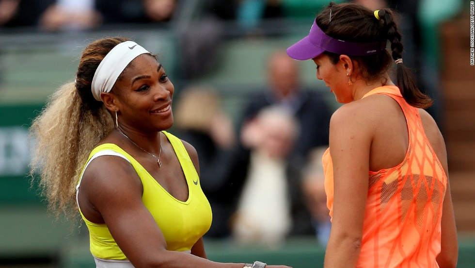 "Williams congratulates her conqueror Garbine Muguruza, the Spaniard later explaining what the defending champion had told her: ""She said that if I continue playing like this, I can win the tournament. I said, 'I will try, I will try.'"""