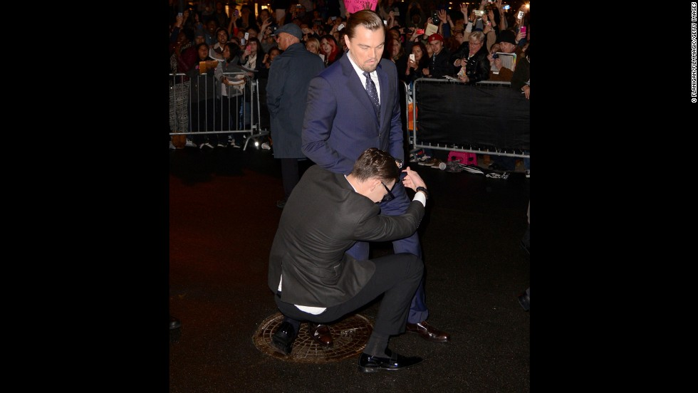 Sediuk wraps himself around the legs of Leonardo DiCaprio at the 29th Santa Barbara International Film Festival in Santa Barbara, California, on February 6.