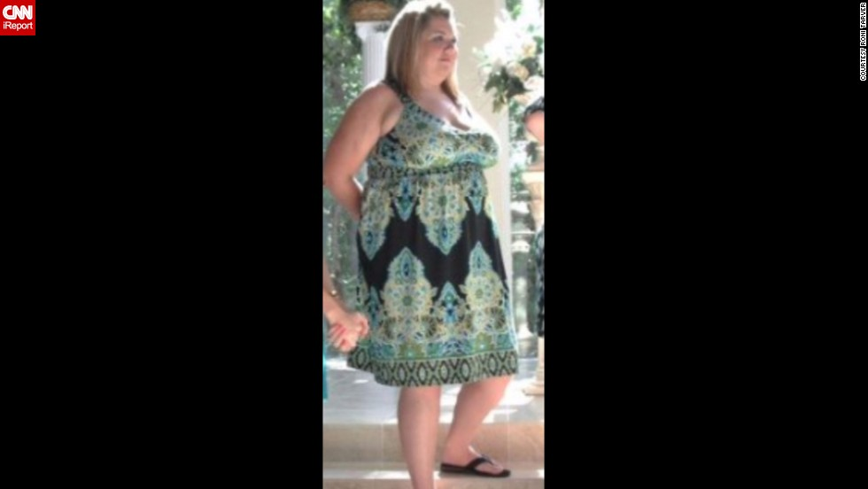 "June 2012: Photos like this one from a wedding were a wake-up call for Tarver. ""I couldn't believe how big I was from the side ... I was so uncomfortable throughout the ceremony because of how big I was compared to the other bridesmaids in the wedding party.  I had specifically chosen that style of dress to hide my stomach."""
