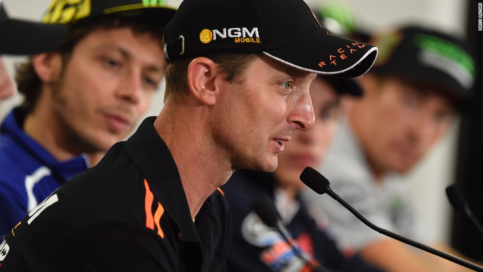 Colin Edwards takes press questions in Austin, Texas flanked by former team mate Valentino Rossi.