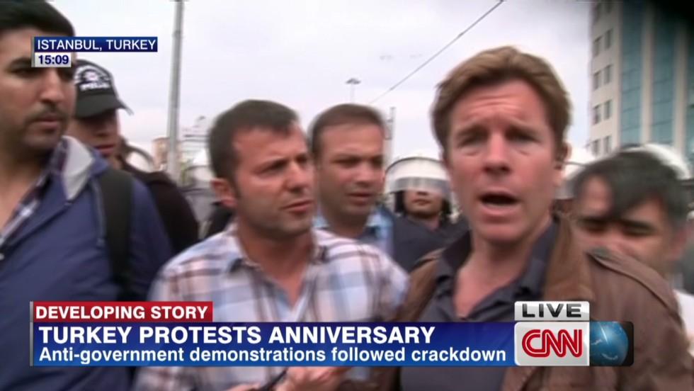 Turkish cops harass CNN reporter on air