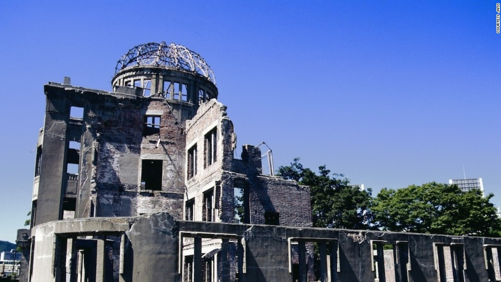 Designed in 1915 by a Czech architect, Hiroshima's Atomic Bomb Genbaku Dome served as the city's Industrial Promotion Hall in 1945. The bomb didn't destroy it completely because the immediate blast and heat buffered the air at ground zero.