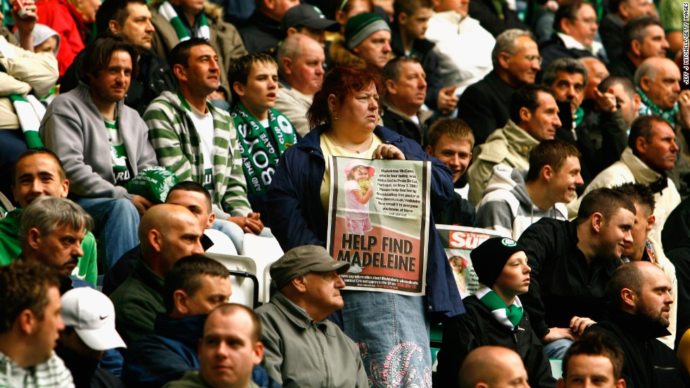 Philomena McCann, Madeleine's aunt, hands out posters inside Celtic Park in Glasgow, Scotland, in May 2007.