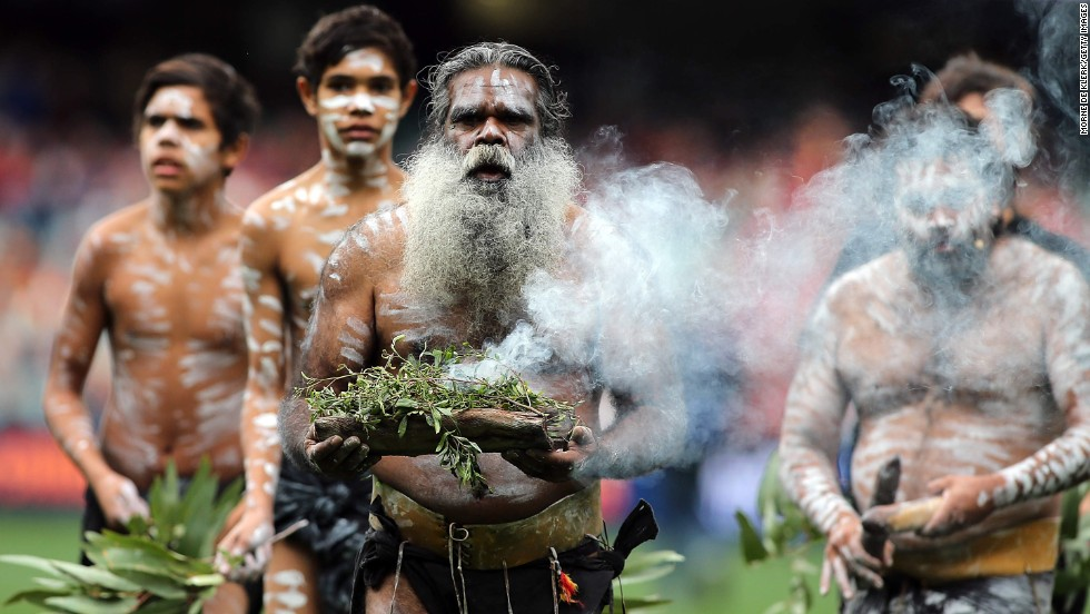 An elder performs the traditional Welcome to Country ceremony during the Australian Football League match between the Adelaide Crows and the Gold Coast Suns on Sunday, June 1.