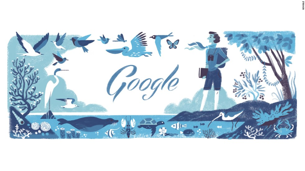 One of the first animated Doodles celebrated marine biologist and conservationist Rachel Louise Carson's 107th birthday on May 27, 2014.